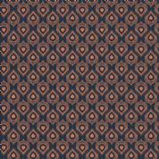 Lewis & Irene Cheiveley - 5637 - Copper Peacock Feathers on Blue (Metallic) - A244.3 - Cotton Fabric